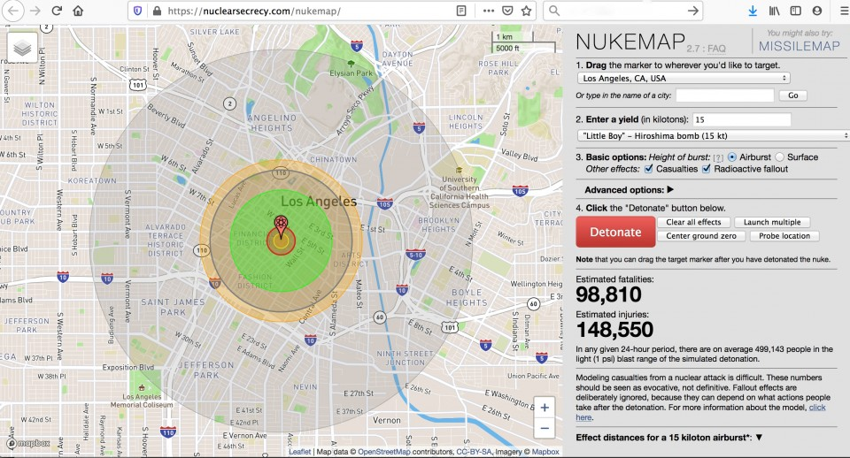 map of nuclear weapon impact on cities