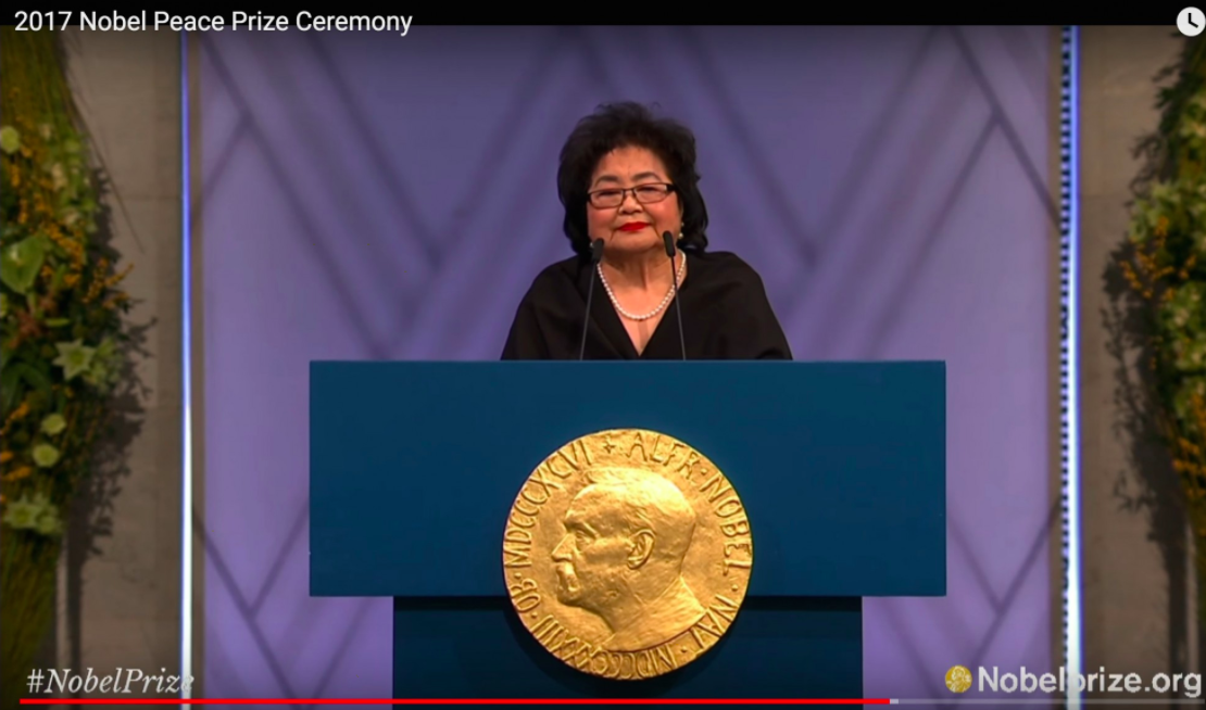 Hibakusha Setsuko Thurlow at the 2017 Nobel Peace Prize Awards Ceremony, giving her acceptance speech on behalf of the International Campaign to Abolish Nuclear Weapons