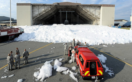 An overhead suppression system at Dover AFB accidentally discharged PFAS-laden foam in 2013. A teaspoon of the material could poison a city's drinking reservoir.