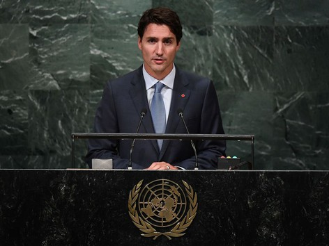 Justin Trudeau at podium