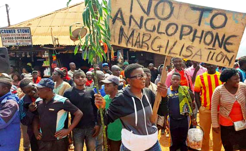 manifestantes pacíficos en Camerún