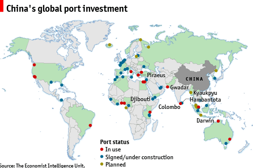 map of China's Global Port investments