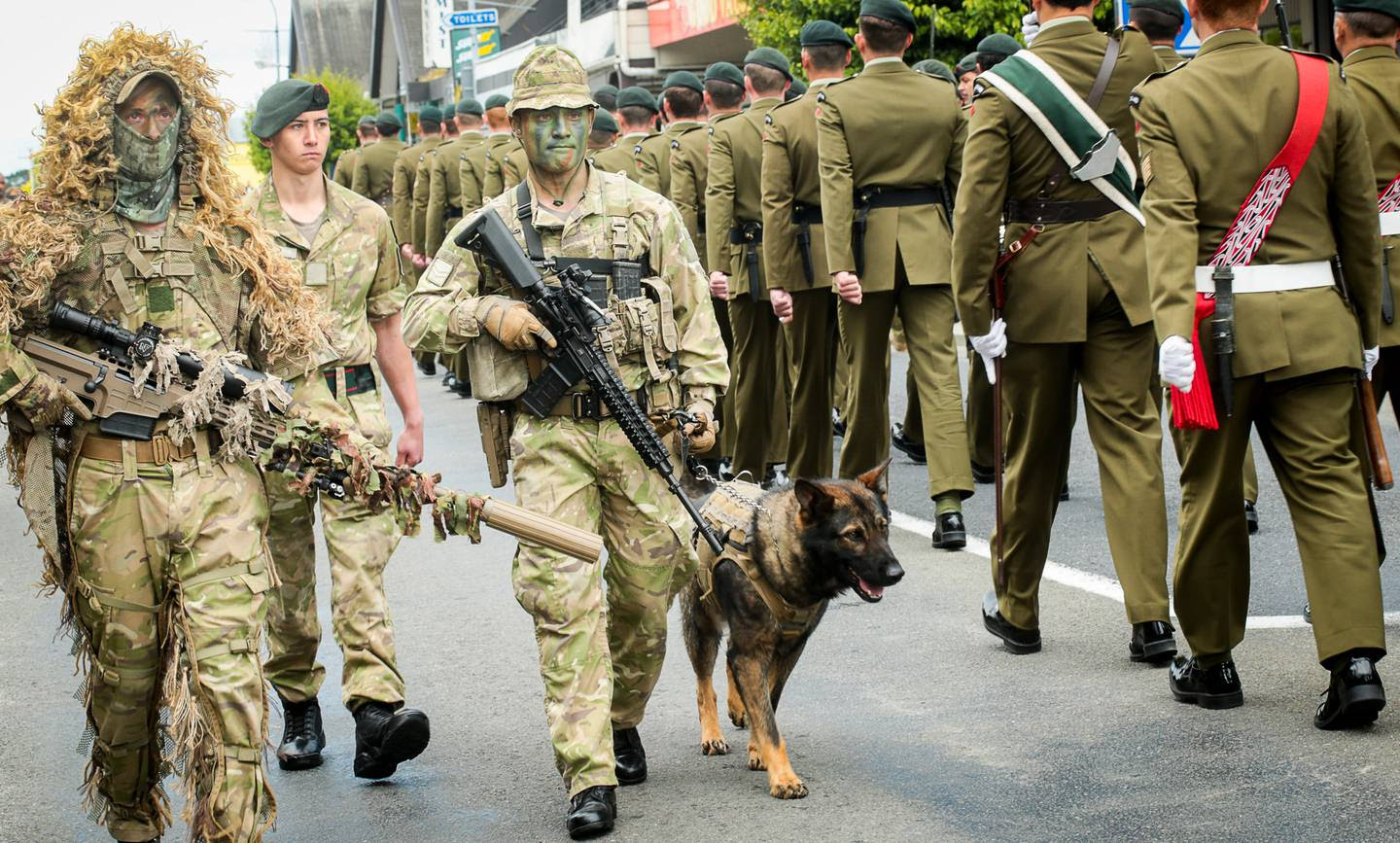 About 100 soldiers, including those carrying arms, marched down Dannevirke's main street as part of the charter parade.