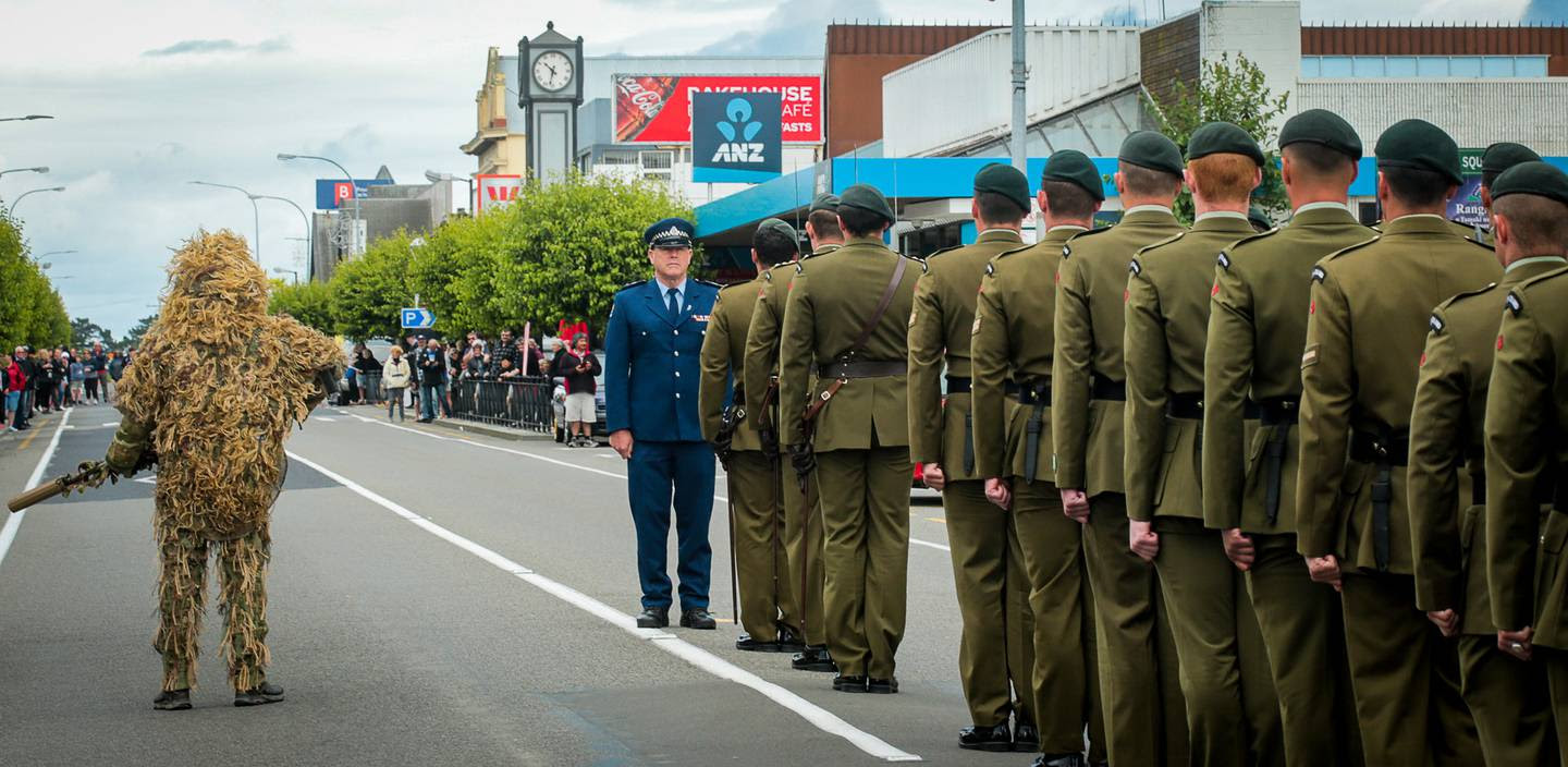 The charter parade signified the relationship between the 1st Battalion Royal New Zealand Infantry Regiment and the Tararua District.