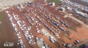 Campo de refugiados, del video de Democracy Now