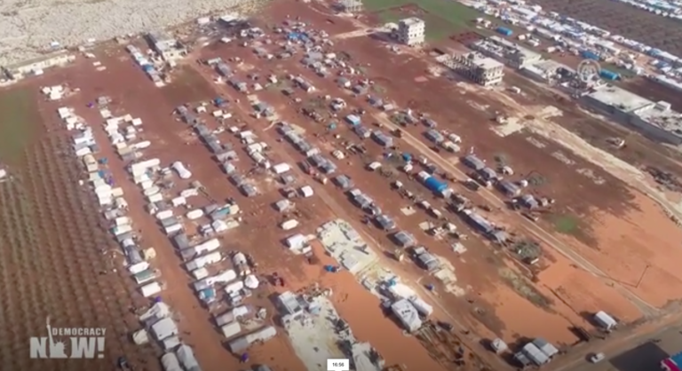 Refugee camp, from Democracy Now video