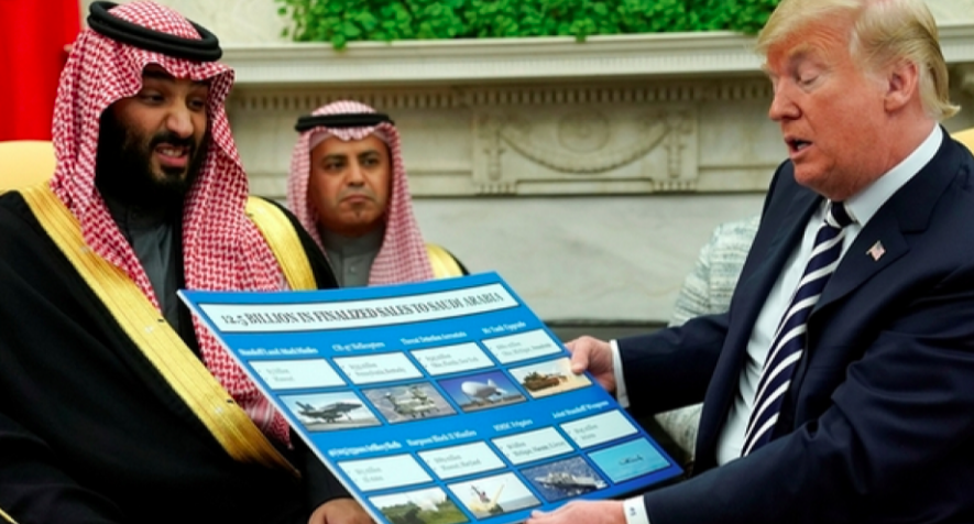 Trump holds a chart of weapon sales as he welcomes Mohammed bin Salman in the Oval Office, March 20, 2018. (Photo: Reuters)