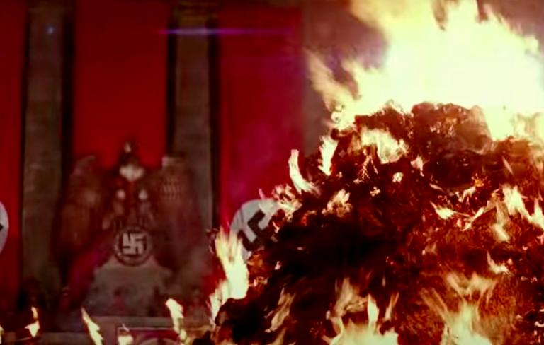 "Book burning scene from ""Indiana Jones"" movie"