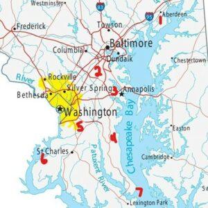 mapa que muestra las bases militares en Maryland