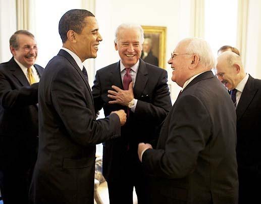 Obama and Biden meet Gorbachev.