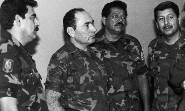 Inocente Orlando Montano (second right) pictured in July 1989 with Col Rene Emilio Ponce, formerly head of the armed forces joint chiefs of staff, Rafael Humberto Larios, formerly defence minister, and Col Juan Orlando Zepeda, formerly defence vice-minister. Photograph: Luis Romero/AP