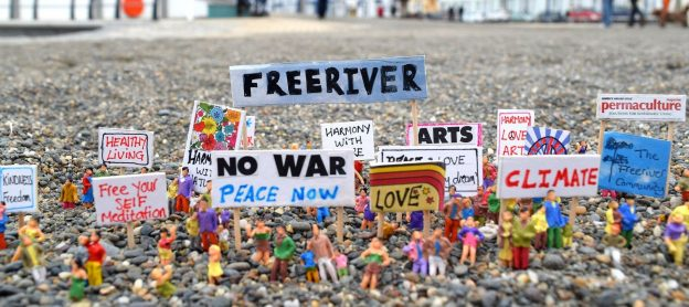 antiwar protest with signs