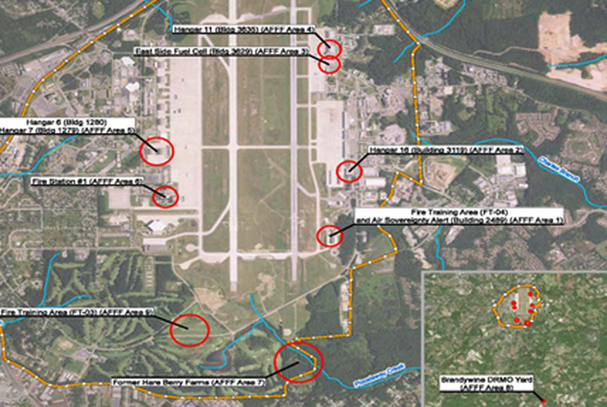 Areas where carcinogenic fire-fighting foams were routinely used are shown in red. Fire Training Area (FT-04) is shown at the southeast corner of the runway. Groundwater there was found to contain extremely high levels of PFAS