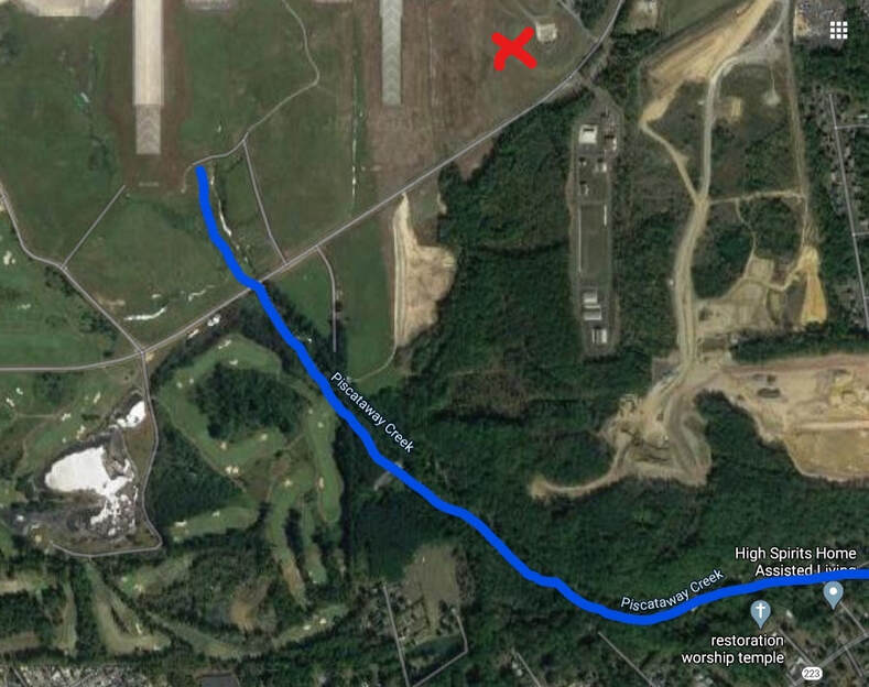 The source of Piscataway Creek is located at the runway on J.B. Andrews. The burn pit by the red X is 2,000 feet from the creek. The creek empties into the Potomac River at the National Colonial Farm at Piscataway Park.