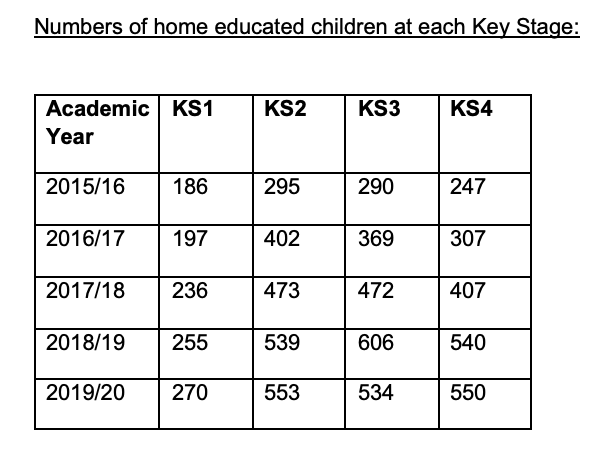 spreadsheet of home-schooled children